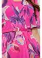 Setre Orkide Midi Boy Floral Desen Elbise Renkli